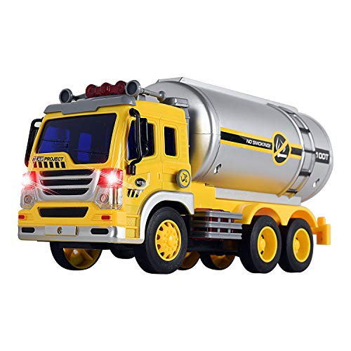 (WolVol Friction Powered Oil Tanker Truck Toy with Lights and Sounds for Kids)