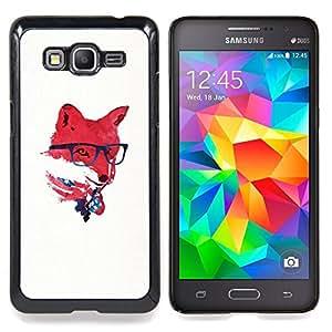 "Qstar Arte & diseño plástico duro Fundas Cover Cubre Hard Case Cover para Samsung Galaxy Grand Prime G530H / DS (Red EE.UU. Hipster Fox"")"