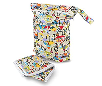Waterproof Wet and Dry Bag & Diaper Changing Mat Set - Double Zipped Pockets.
