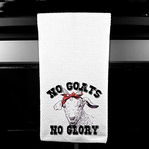(No Goats, No Glory, Red Bandana Funny Farm Kitchen Tea Towel Gift for Her )