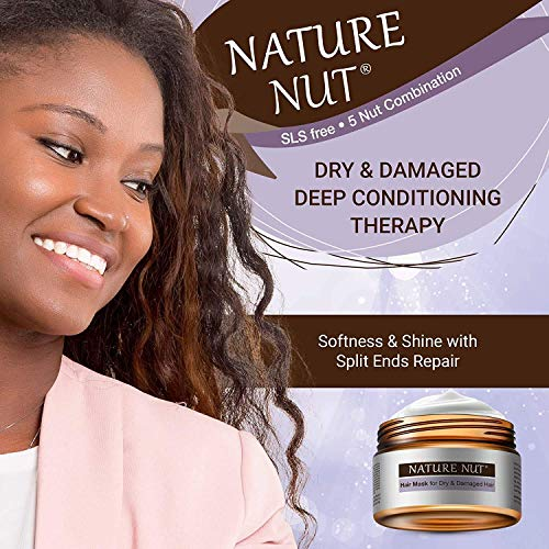 Nature Nut Dry & Damaged Hair Repair Shampoo + Hair Mask. Hypoallergenic 5 Nut Natural Blend Hydrating Formula