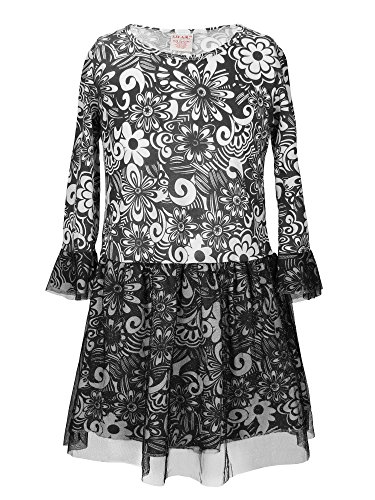 S.W.A.K. Girls Long Sleeves Flower Pattern With Glittered Tutu Dress Black Size 10 - Kids Ak