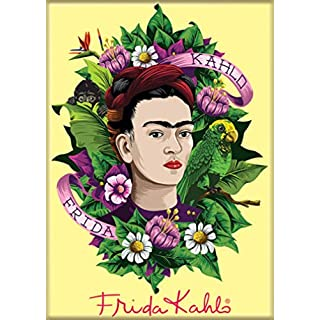 "Ata-Boy Frida Kahlo Flowers 2.5"" x 3.5"" Magnet for Refrigerators and Lockers"