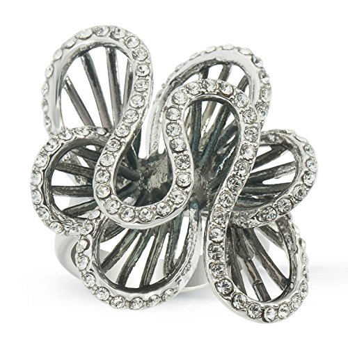 Swirl Cocktail Ring (JanKuo Jewelry Cocktail Swirl Crystal Ring with Black Rhodium Plated in Gift Box (7))
