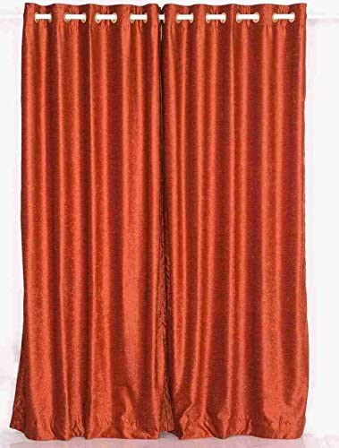 Indian Selections Lined-Rust Ring Grommet Top Velvet Curtain Drape – 80W x 120L – Piece