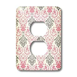 3dRose LLC lsp_44246_6 Pink and Gray Damask Pattern On A White Background 2 Plug Outlet Cover