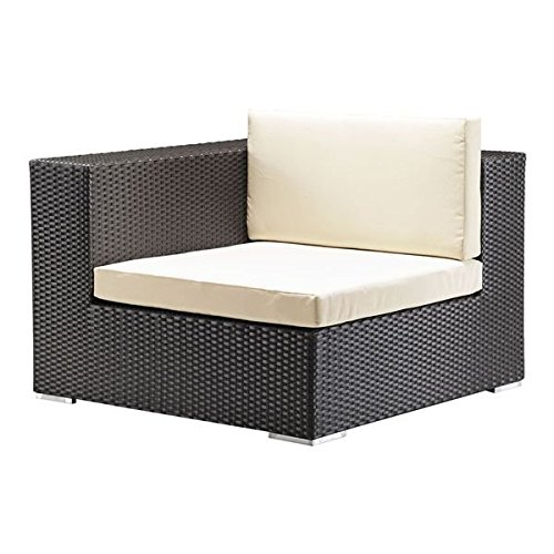 Cartagena Espresso Sunproof Wicker and Fabric Corner Chair