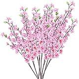 10mazzo di fiori artificiali Peach Blossom con 3steli forcella rosa