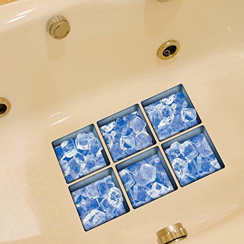 ChezMax Blue Ice Bath Treads Sticker Safety Non Slip Bath Tub Tattoos Tub Stickers Tub Decals Tub Appliques 6 Pcs 5.1