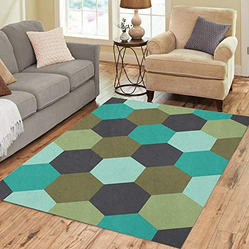 Semtomn Area Rug 2' X 3' Colorful Abstract Honeycomb in Teal Brown Green and Charcoal Home Decor Collection Floor Rugs Carpet for Living Room Bedroom Dining Room