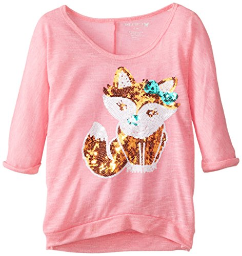 One Step Up Big Girls' Lightweight Sweater with Sequin Fox, Flawless Pink, Large