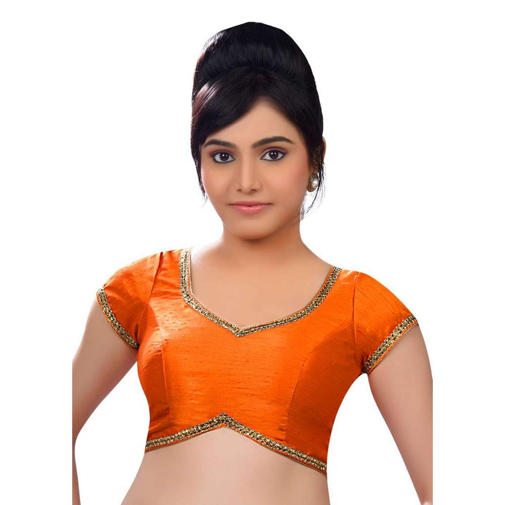 orange Designer Indian Traditional Dupion Silk Padded Half Sleeves Saree Blouse Choli (Co203) Multiple colors Available