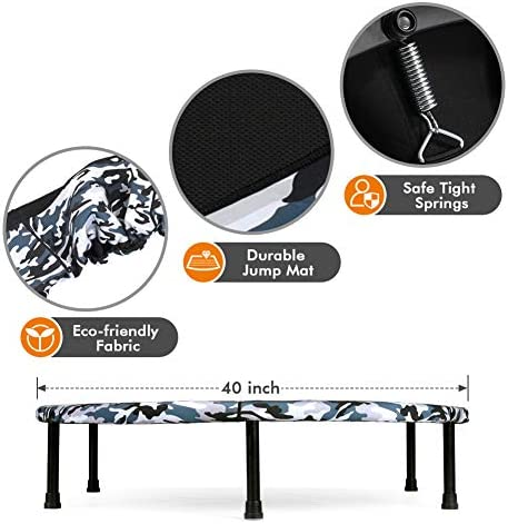 """2020 Upgraded Wamkos 40"""" Rebounder Mini Exercise Trampoline for Adults Kids,Indoor Foldable Fitness Trampoline Trainer with Resistance Bands for Sports & Outdoor,Yoga and Other Jumping Cardio Exercise 7"""