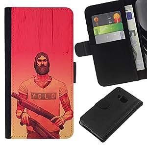 All Phone Most Case / Oferta Especial Cáscara Funda de cuero Monedero Cubierta de proteccion Caso / Wallet Case for HTC One M9 // Yolo Pink Guns Red Yellow Beard Guns