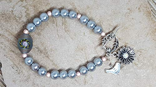 "Bracelet One of a Kind Silver Glass ""Pearls"" Iridescent Pink Glass Beads Dressy Center-Gray Frosted Bead w/Pink Flowers Silver Toggle Charms-Heart w/Rhinestone & Bird Stretch w/Toggle #103 (Frosted Center)"