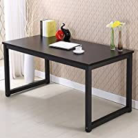 Modern Simple Style Computer Desk PC Laptop Study Table Office Desk Workstation for Home Office, Black +Black Leg 55 inch (55x23.6, Black +Black Leg)