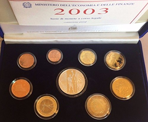 IT 2003 Italy 2003 Official Euro Set 9 Coins L'Europe Del Good