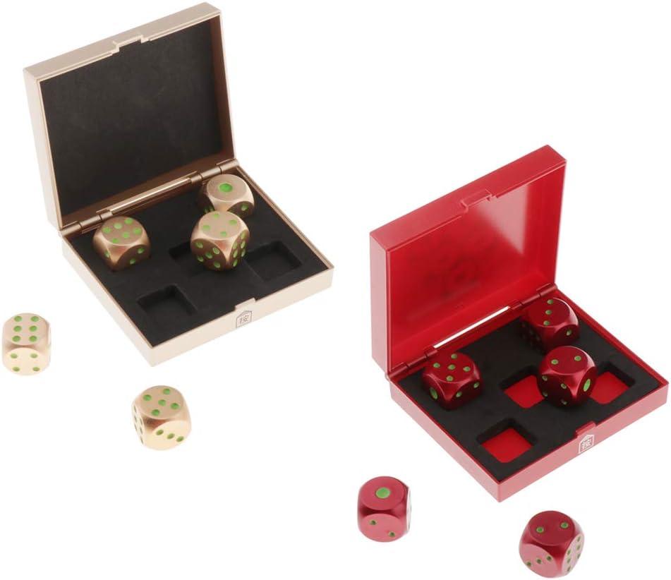 perfeclan 10 Piezas de Seis Caras D6 16 Mm Dados Est/ándar Die Metal Rojo Y Oro Pips Luminosos