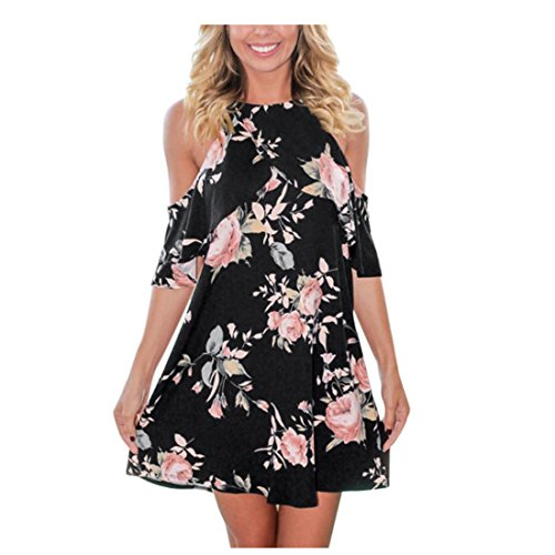 Amiley Summer Sexy Women Black Floral Off the Shoulder Strapless Shoulder Short Print Flower Cocktail Party Dress (XL, Black)