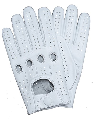 Riparo Genuine Leather Full-finger Driving Gloves (Medium, White) -