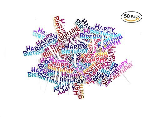 Warm party Colourful Happy Birthday Cupcake Picks Cake Toppers,Pack of 50 -