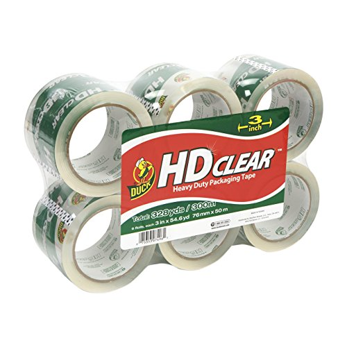 Duck Brand HD Clear High Performance Packaging Tape, 3-Inch x 54.6-Yard, Crystal Clear, 6-Pack (307352)
