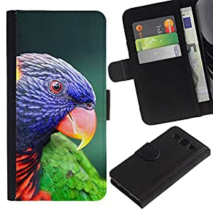 Supergiant (Parrot Parolee Tropical Exotic Bird) Dibujo PU billetera de cuero Funda Case Caso de la piel de la bolsa protectora Para SAMSUNG Galaxy S3 III / i9300 / i747