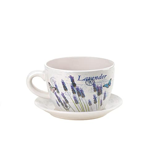 Amazon Com Large Teacup Style Lavender Flowers Planter Pot Cup And