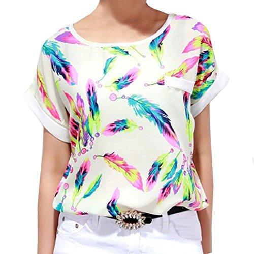 Zeagoo® Women's Feather Pattern Chiffon Batwing-sleeve Tops Blouse
