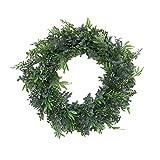 16'' Mixed Fern Wreath Artificial Wreath,Artificial Green Leaf Wreath Door Wreath for Home Door Hanging Wall Window Wedding Christmas Party Decoration