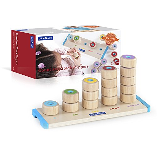 Guidecraft Count and Stack Poppers - Rubberwood Cylinders Counting and Matching Skills
