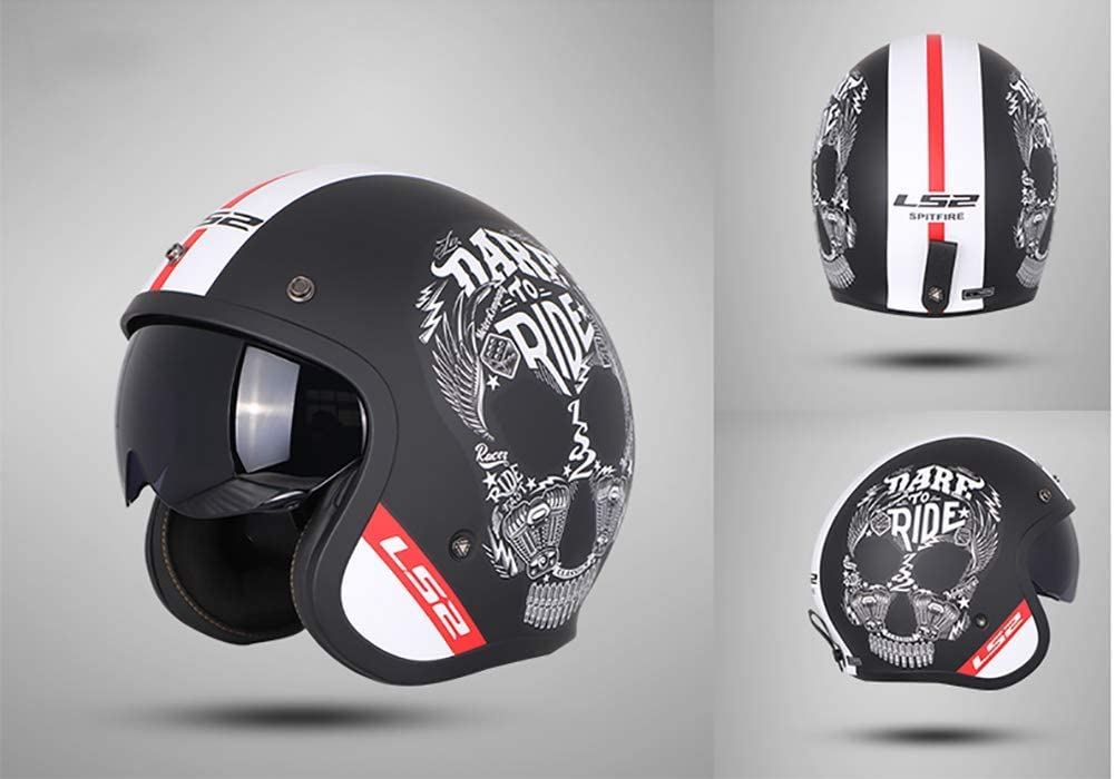 Schwarz Wei/ß Pers/önlichkeit Sch/ädel Erwachsene M/änner Frauen Rollerhelm Jet-Helm ECE Genehmigt L-4XL Vintage Harley Offenes Motorradhalbhelme mit Bluetooth-Headset