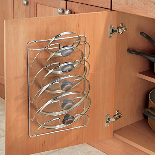 mDesign Metal Wire Pot and Pan Lid Rack Organizer for Kitchen Cabinet Doors or Wall Mount - Upright Storage Holder with 5 Slots - Chrome