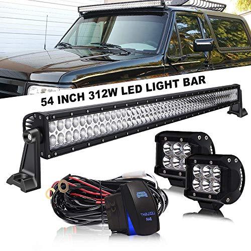 DOT 54 Inch Led Light Bar Combo Beam Offroad Driving Light Bar On Bumper Windshield Roof + 4Inch Pods Cube Fog Light + Wiring Harness Kit for Truck Jeep Hummer UTV ATV SUV Ford Dodge Ram Chevy GMC 4WD ()
