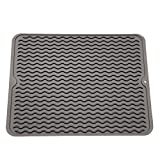 ZLR Silicone Dish Drying Mat Easy Clean Dishwasher Safe Heat Resistant Eco-Friendly Trivet Grey Large 15.8' X 12'
