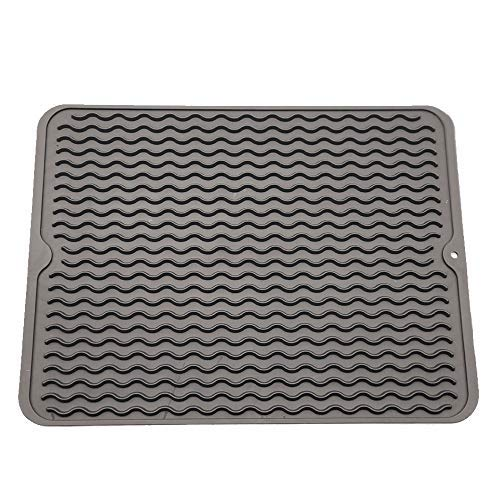 ZLR Silicone Dish Drying Mat Easy Clean Dishwasher Safe Heat Resistant Eco-Friendly Trivet Grey Large 15.8