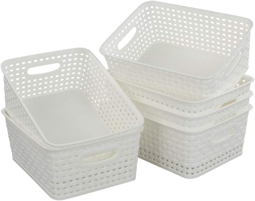 Kekow 6-Pack Storage Basket Organizer for Office Supplies, White