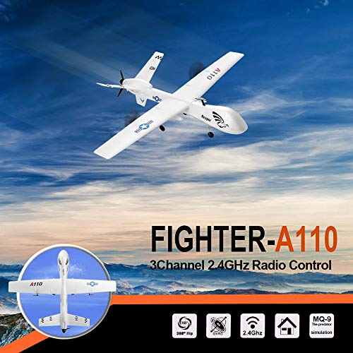 ASfairy-Toy XK A110 3CH 2.4G Predator MQ-9 RC Airplane DIY Glider Remote Control Plane, Stable Flight Powerful Motor Best Gift to Teens