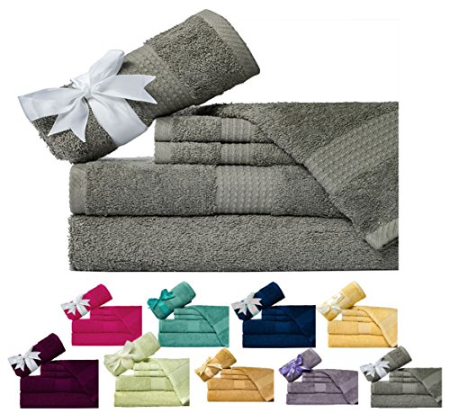 Weavely Cotton (600 GSM) 6 Piece Bath Towel Set, Hotel & Spa Quality Towel, Grey Pine Color, 2 x Bath Towels 30