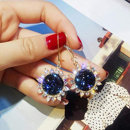 AIUSD Fashion Simple and Generous Diamond Sun Flower Earrings Ladies Jewelry