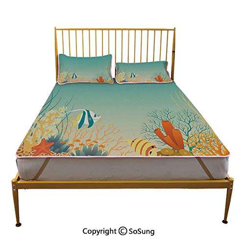 Aquarium Creative Queen Size Summer Cool Mat,Tropical Oceanic Landscape in Warm Colors Cartoon Style Coral Colony Decorative Sleeping & Play Cool Mat,Turquoise Orange Yellow