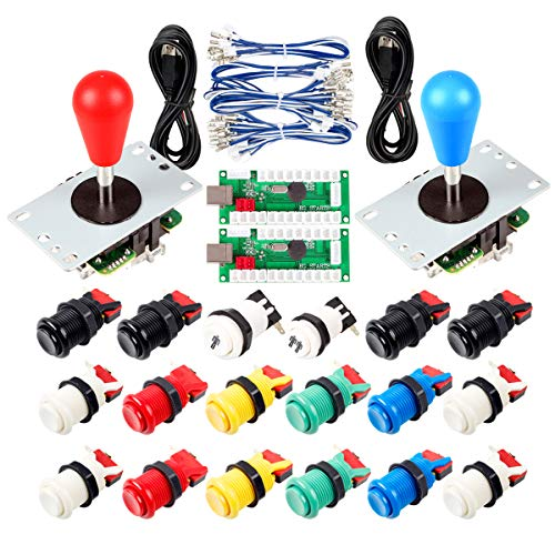Avisiri 2 Player Arcade Joystick DIY Parts 2X USB Encoder + 2X Elliptical Joystick Hanlde + 18x American Style Arcade Buttons for PC, MAME, Raspberry Pi, Windows (Mix Color Kit)