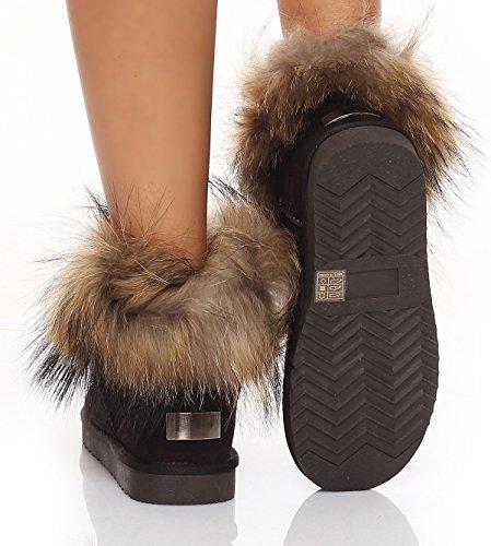 SKUTARI Wildleder Damen Winter Boots | Warm Gefüttert | Schlupf-Stiefel mit Stabile Sohle | Weiche Fell Schuhe Schoko