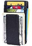 Money Clip Wallet for Men Slim Front Pocket Wallet Powerful & Secure RFID Blocking (Crosshatch Black)