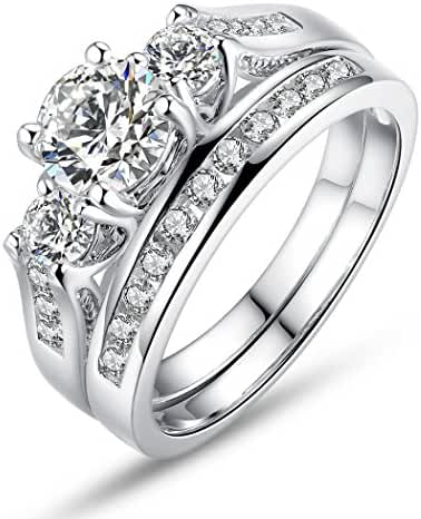 Bamoer Set of 2 18K White Gold Plated Princess Cut Big Round Cubic Zirconia 3 Stone Engagement Wedding Ring Set for Her Women Girls Sizes 6 to 9