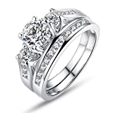 Bamoer Set of 2 18K White Gold Plated Princess Cut Round Prong Set 3 Stone Diamond Cubic Zirconia Halo Engagement Wedding Ring Set Fashion Jewelry for Women Men Girls Sizes 6