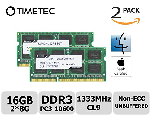 Timetec Hynix IC Apple 16GB Kit (2x8GB) DDR3 1333MHz PC3-10600 SODIMM Memory upgrade For iMac 12,2 (27-inch Mid 2011), iMac 21.5-inch Mid 2011, Mac mini 5,1 & Mac mini 5,2(Mid 2011) and more (16GB Kit (2x8GB)) (Mac Mini With Os X Server)