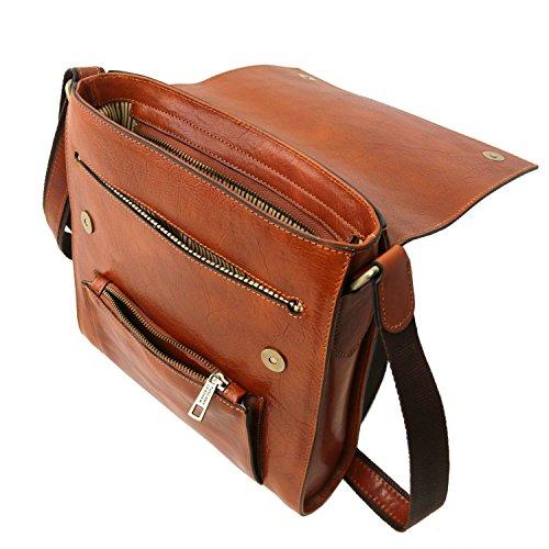 en Miel Miel Delantero para Leather Bolsillo Tuscany Hombre Oliver Bolso con Piel qXnO1S
