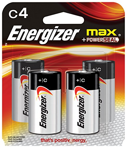 Energizer MAX C Alkaline Batteries, - 4 C Cell Pack Batteries