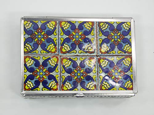 - JEWELRY BOX trinket treasure chest punched tin with talavera tile handmade art